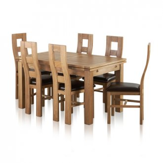 "Dorset Natural Solid Oak Dining Set -4ft 7"" Extending Table and 6 Wave Back and Brown Leather Chairs"