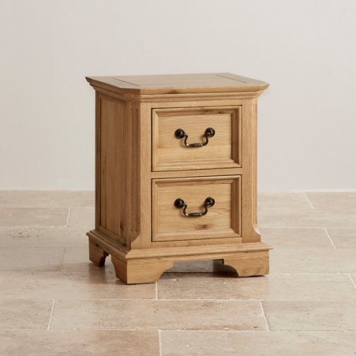 Edinburgh Natural Solid Oak 2 Drawer Bedside Table