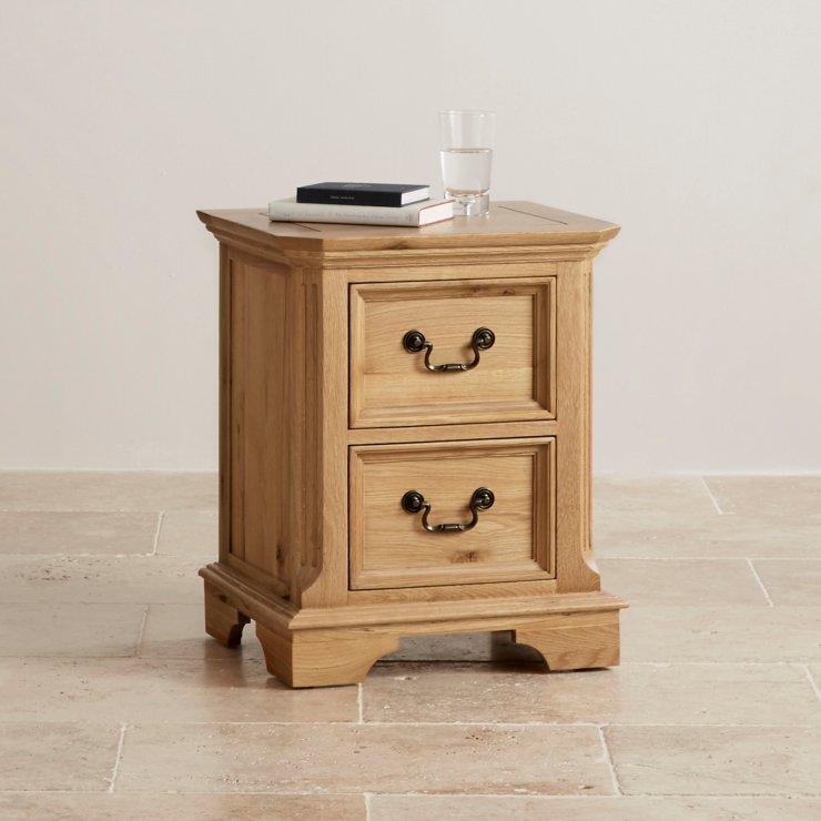 Edinburgh Natural Solid Oak 2 Drawer Bedside Table