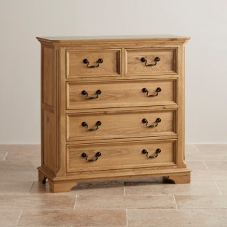 Edinburgh Natural Solid Oak 3+2 Drawer Chest