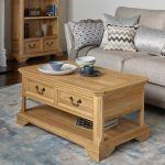 Edinburgh Natural Solid Oak 4 Drawer Coffee Table - Thumbnail 3