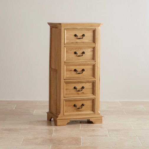 Edinburgh Natural Solid Oak 5 Drawer Tallboy