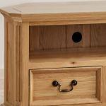Edinburgh Natural Solid Oak Corner TV Cabinet - Thumbnail 4