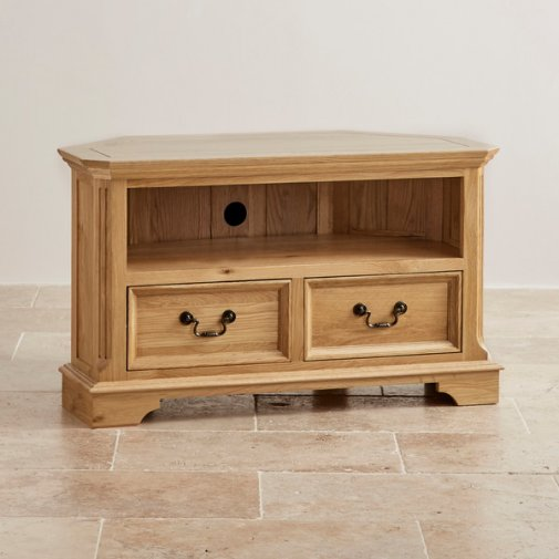 Edinburgh Natural Solid Oak Corner TV Cabinet