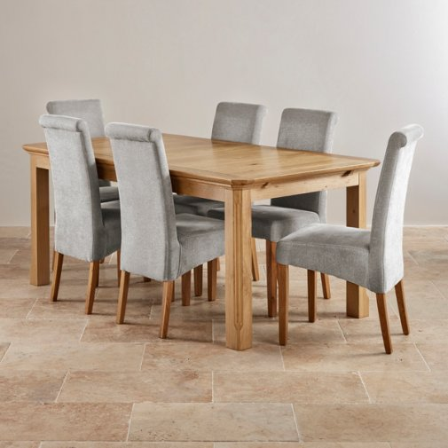 Edinburgh Solid Oak Dining Set - 6ft Extending Table + 6 Grey Chairs
