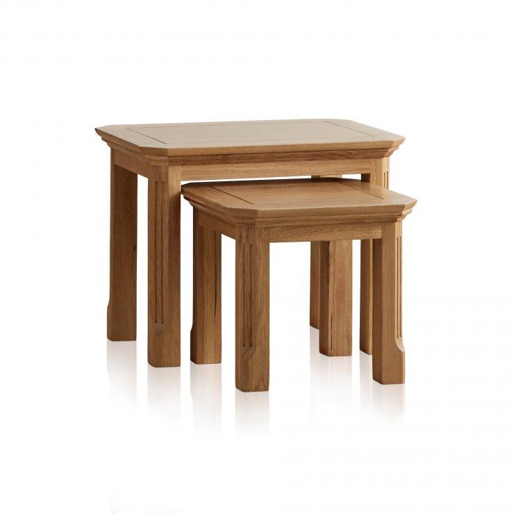 Edinburgh Natural Solid Oak Nest of Tables - Image 5