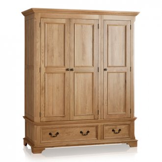 Edinburgh Natural Solid Oak Triple Wardrobe
