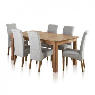 Edinburgh Solid Oak Dining Set - 6ft Extending Table + 6 Grey Chairs