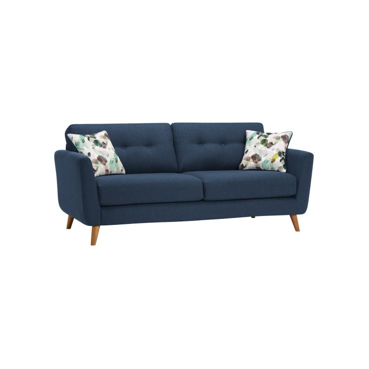 Evie 3 Seater Sofa in Blue Fabric - Image 1