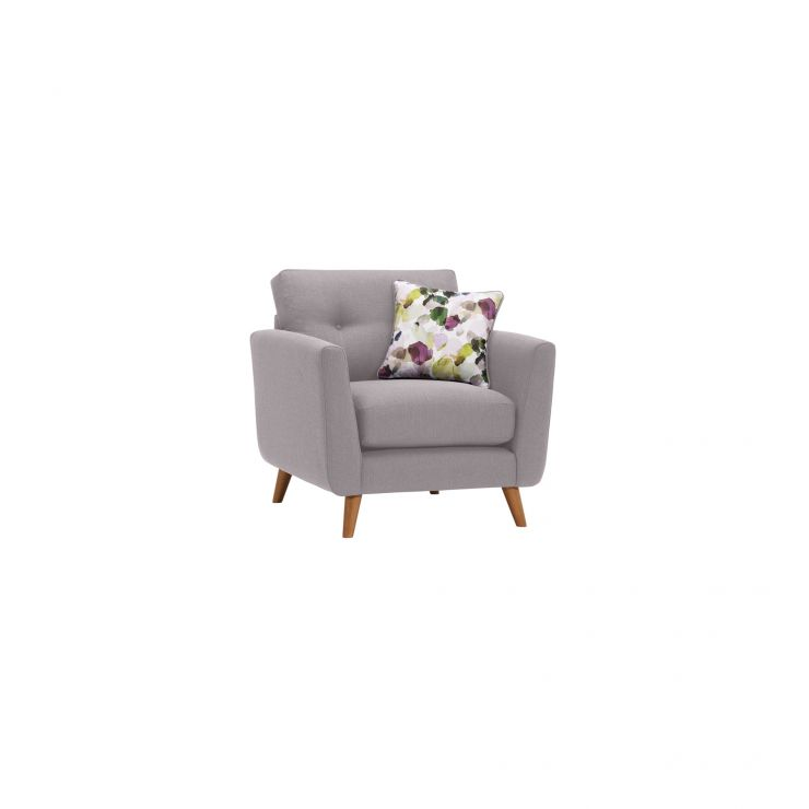 Evie Armchair in Silver Fabric - Image 1