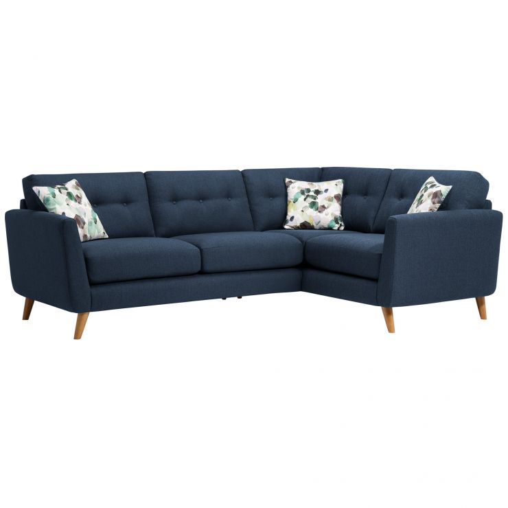 Evie Left Hand Corner Sofa in Blue Fabric