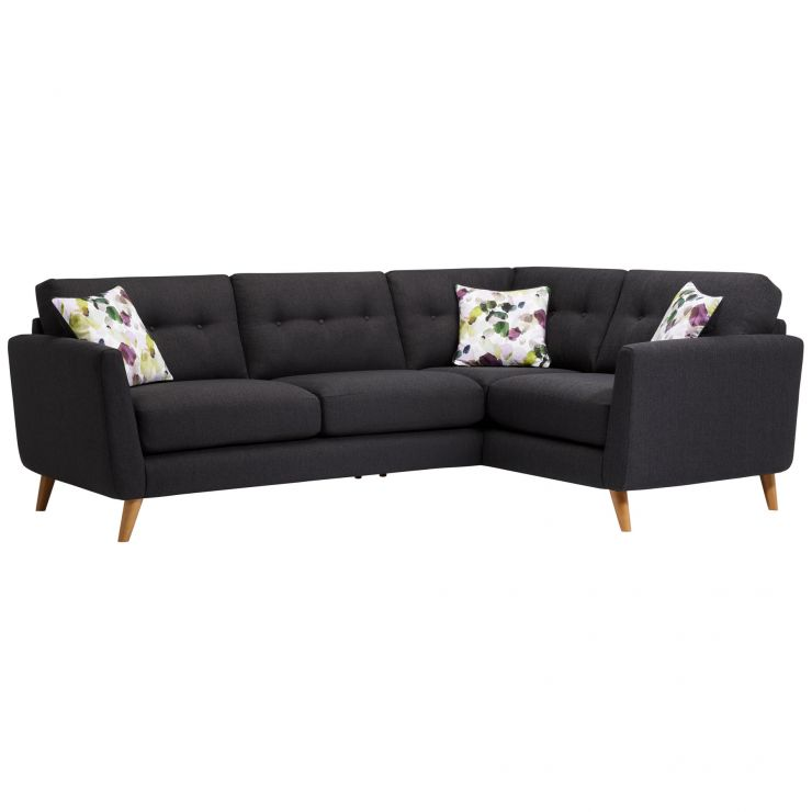 Evie Left Hand Corner Sofa in Charcoal Fabric