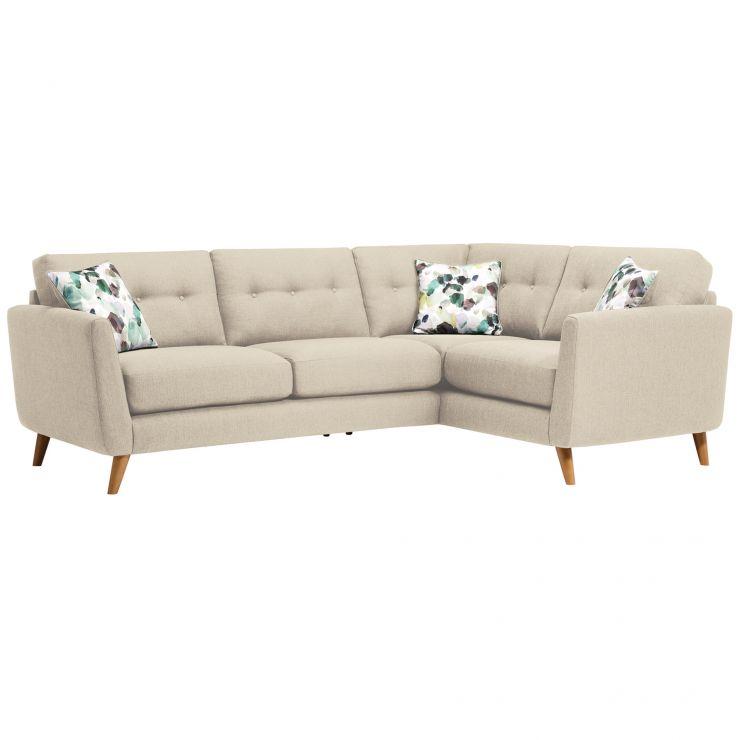 Evie Left Hand Corner Sofa in Ivory Fabric