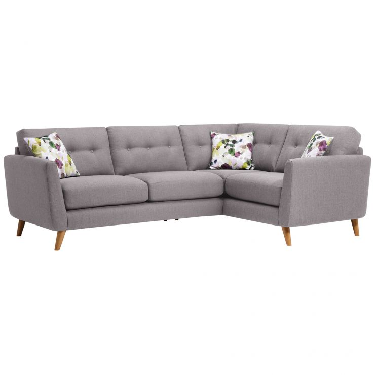Evie Left Hand Corner Sofa in Silver Fabric