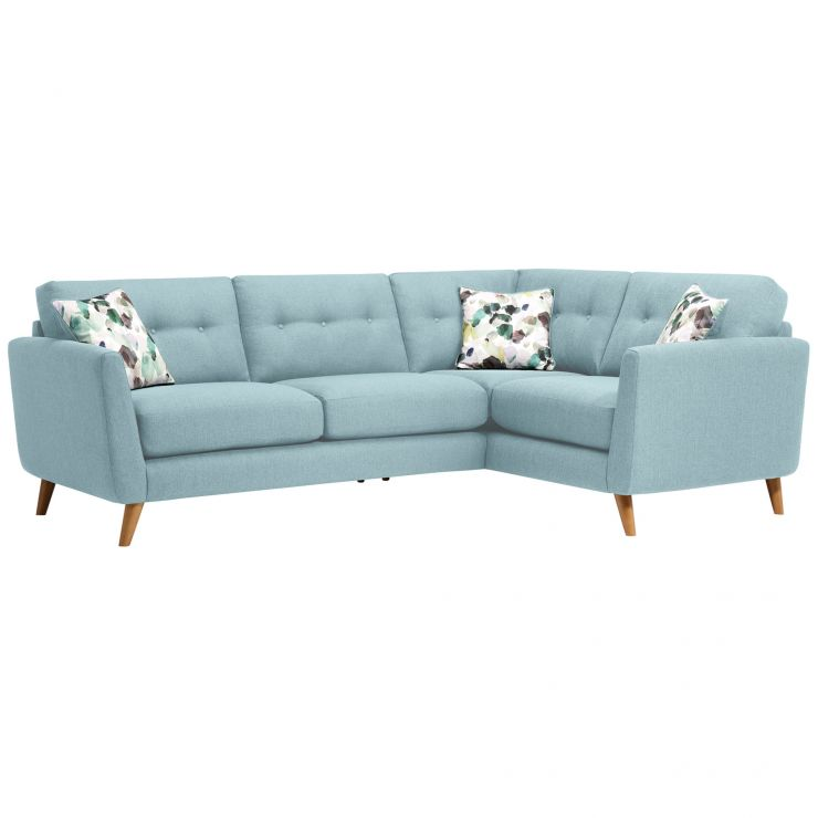 Evie Left Hand Corner Sofa in Sky Fabric