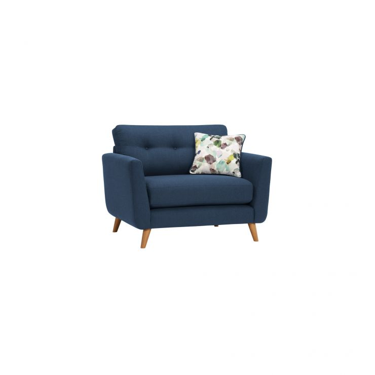 Evie Loveseat in Blue Fabric - Image 1