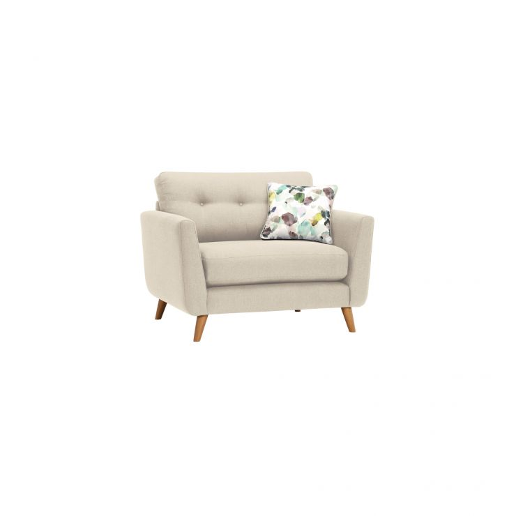 Evie Loveseat in Ivory Fabric - Image 9