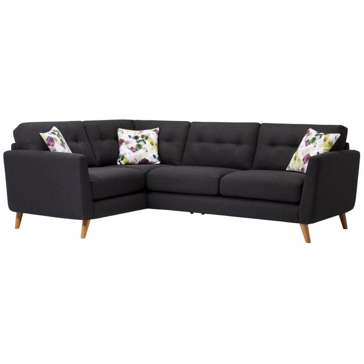 Evie Right Hand Corner Sofa in Charcoal Fabric