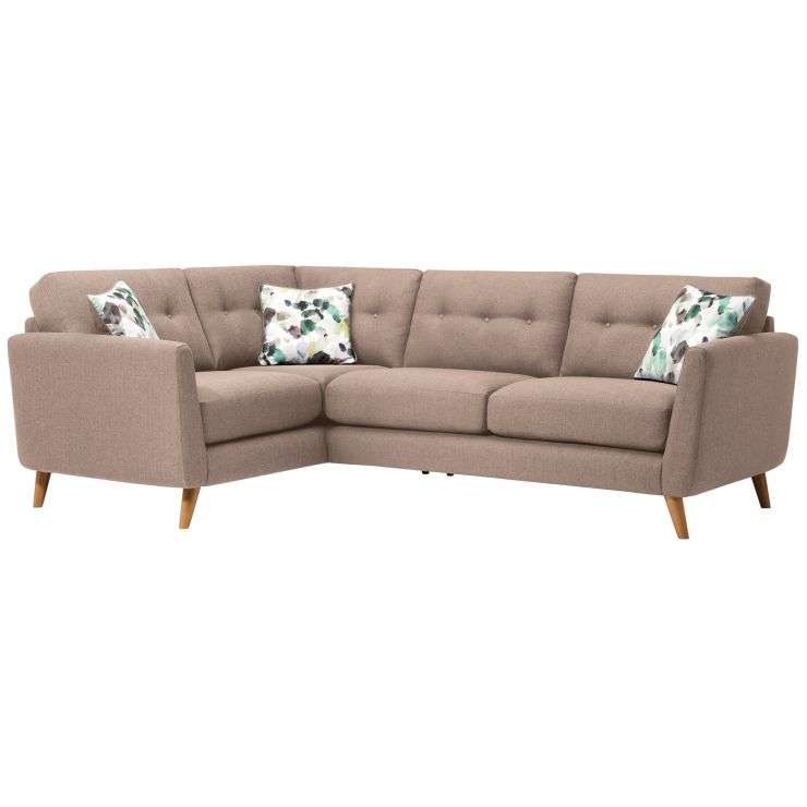Evie Right Hand Corner Sofa in Mink Fabric