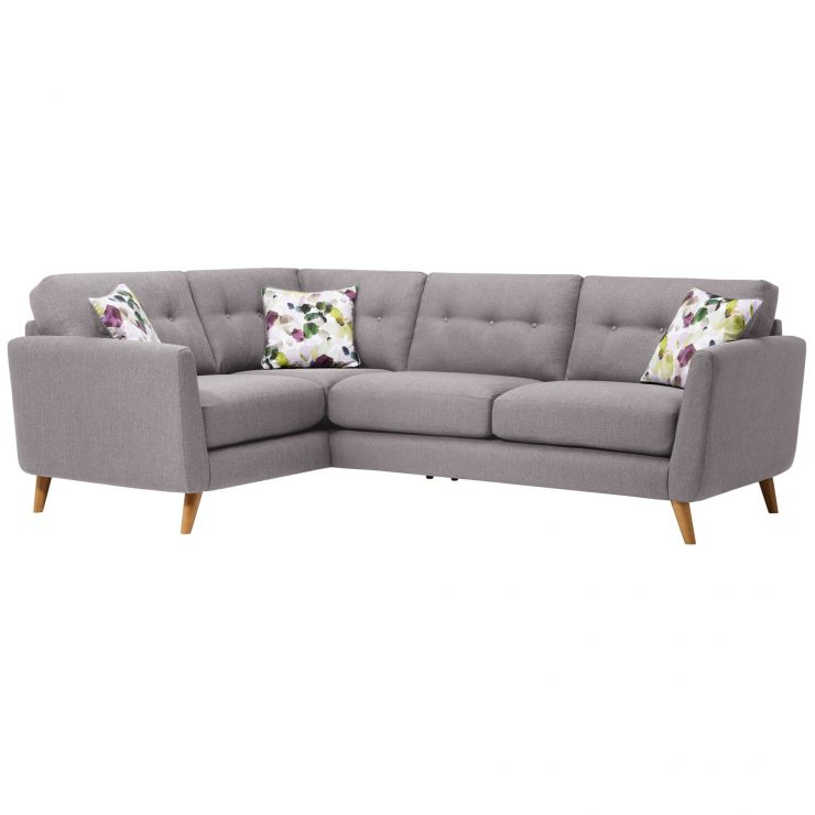 Evie Right Hand Corner Sofa in Silver Fabric - Image 1