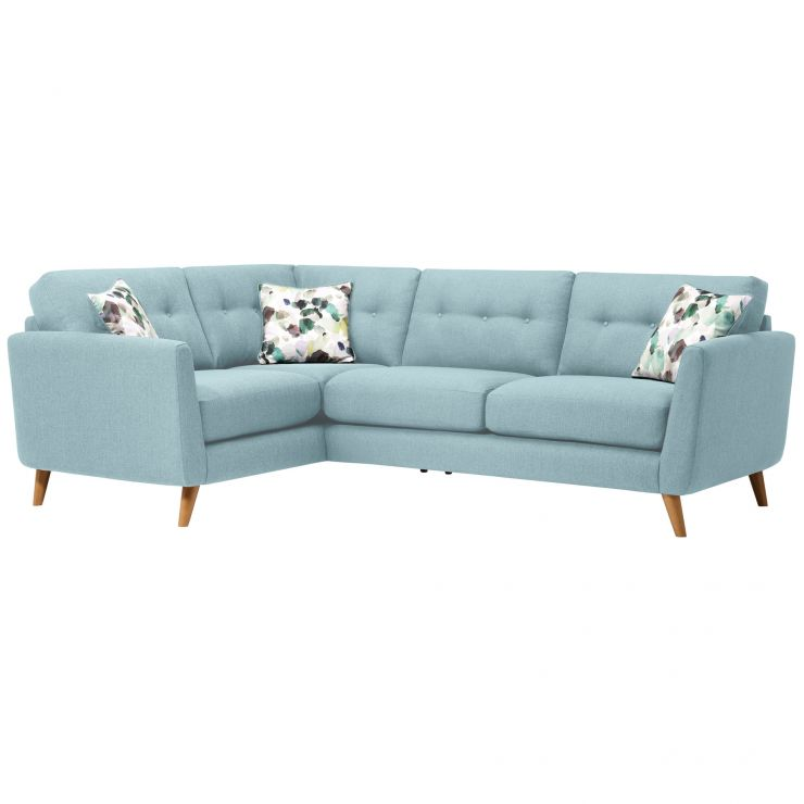 Evie Right Hand Corner Sofa in Sky Fabric