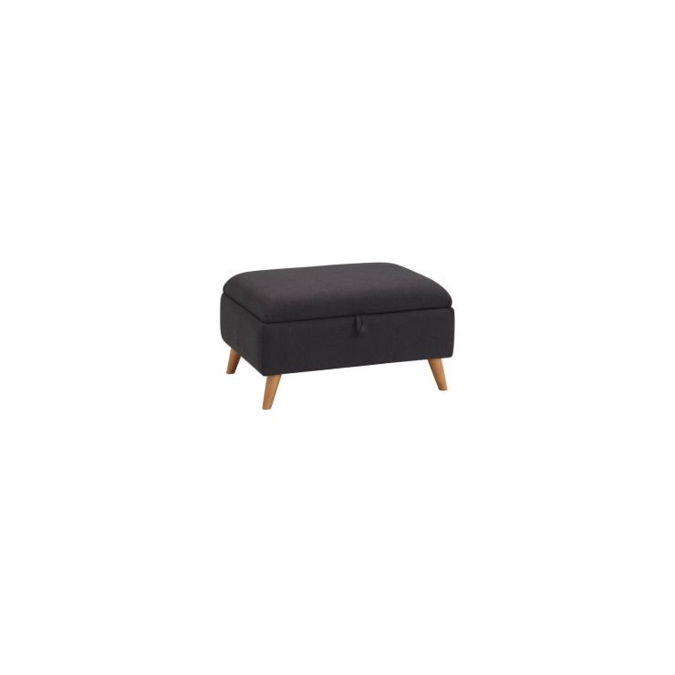 Evie Storage Footstool in Plain Charcoal Fabric