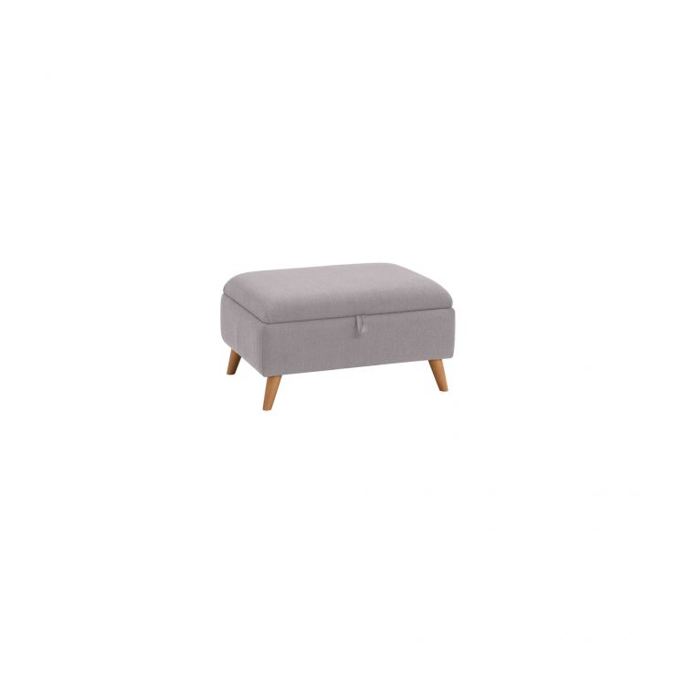 Evie Storage Footstool in Plain Silver Fabric