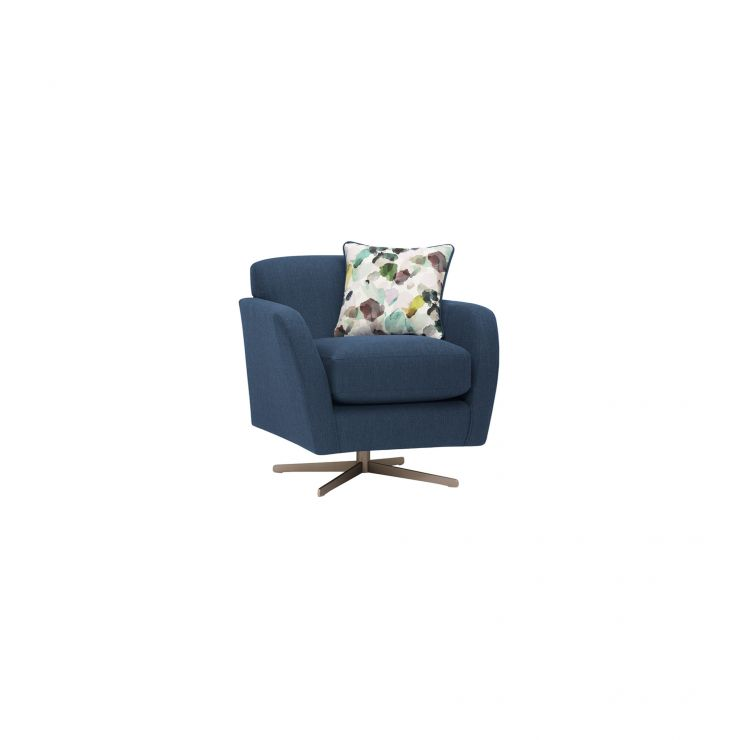 Evie Swivel Chair in Plain Blue Fabric - Image 14