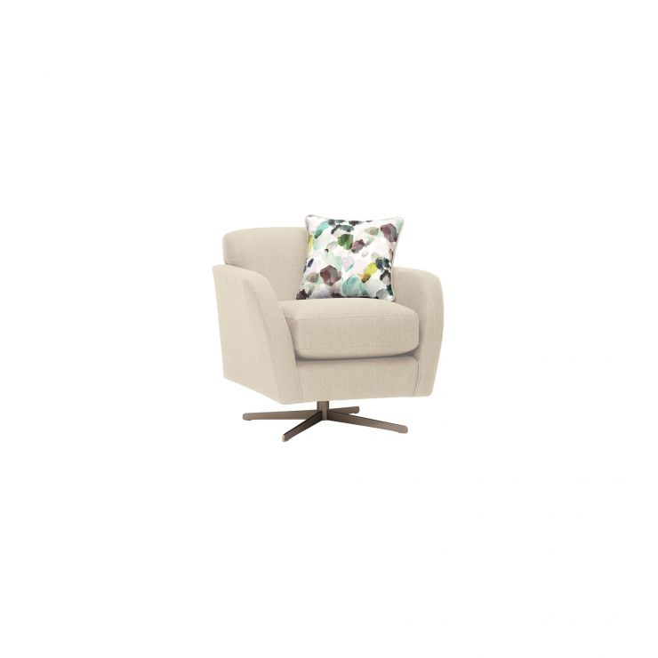 Evie Swivel Chair in Plain Ivory Fabric - Image 11