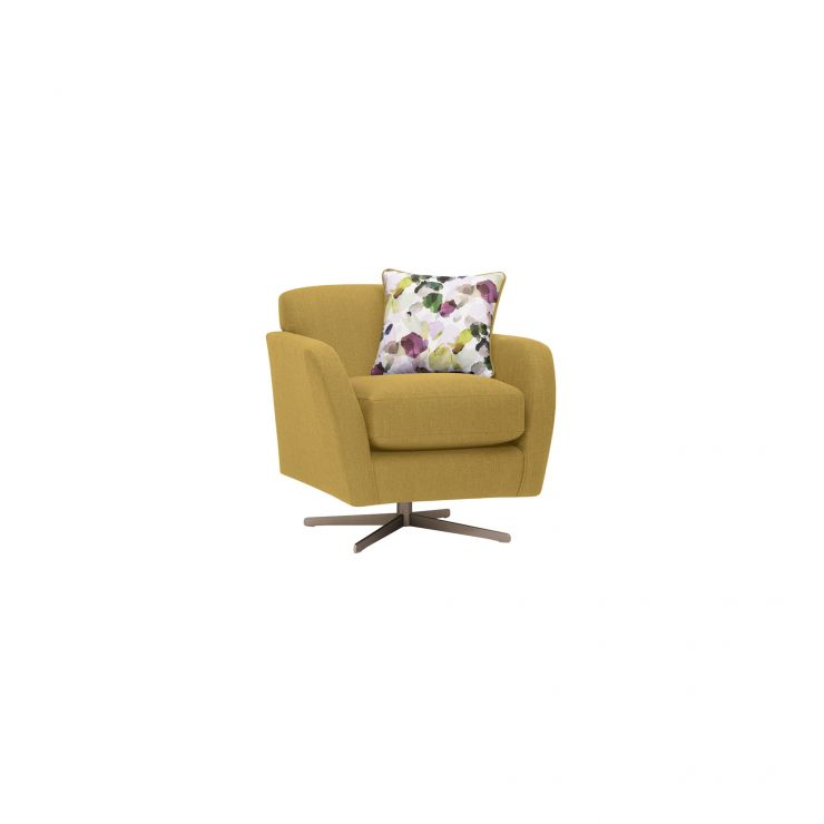 Evie Swivel Chair in Plain Lime Fabric - Image 1