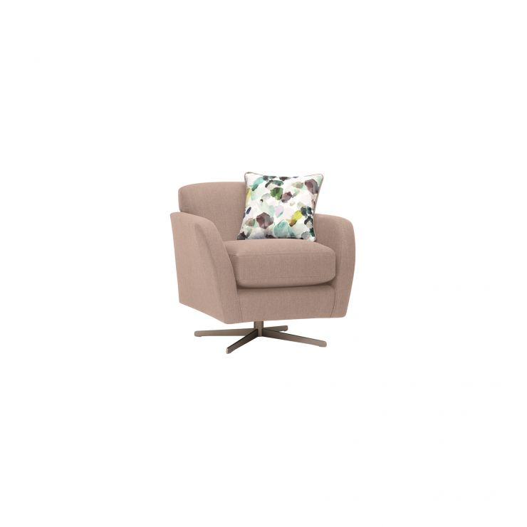 Evie Swivel Chair in Plain Mink Fabric