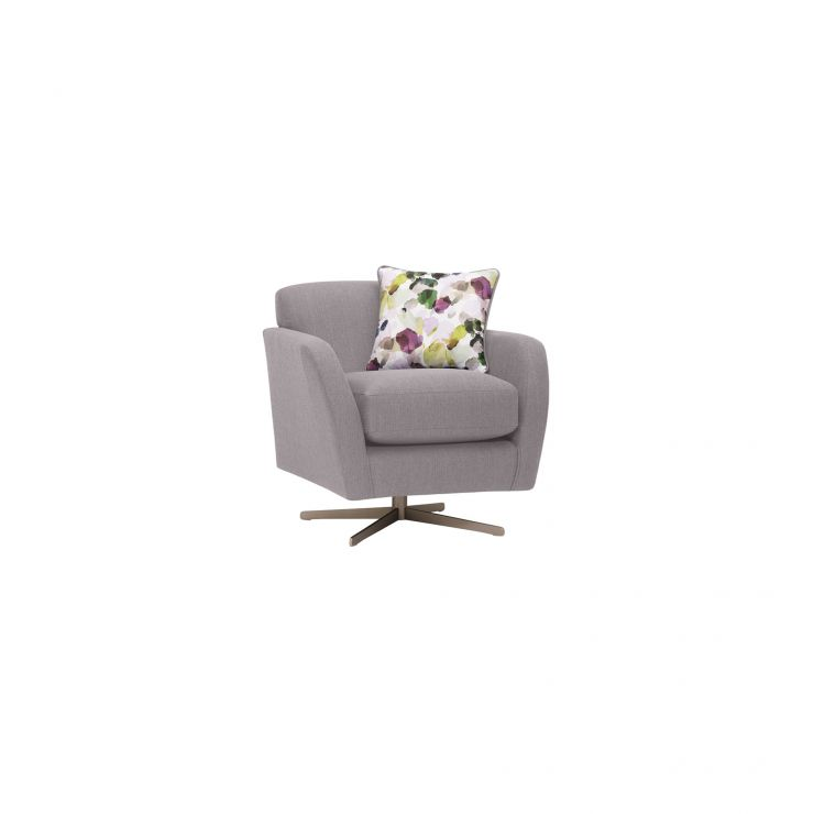 Evie Swivel Chair in Plain Silver Fabric - Image 1