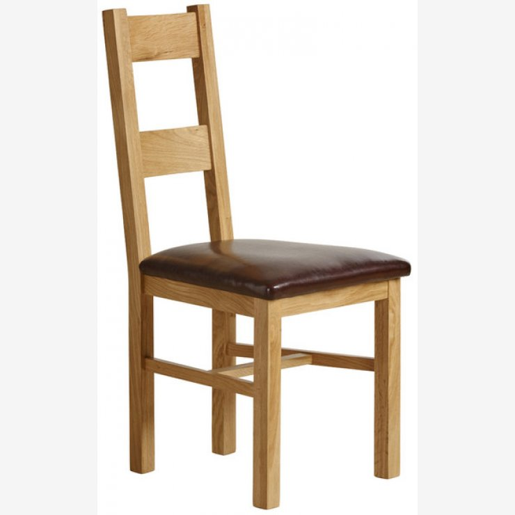 Farmhouse Natural Solid Oak and Brown Leather Dining Chair - Image 3