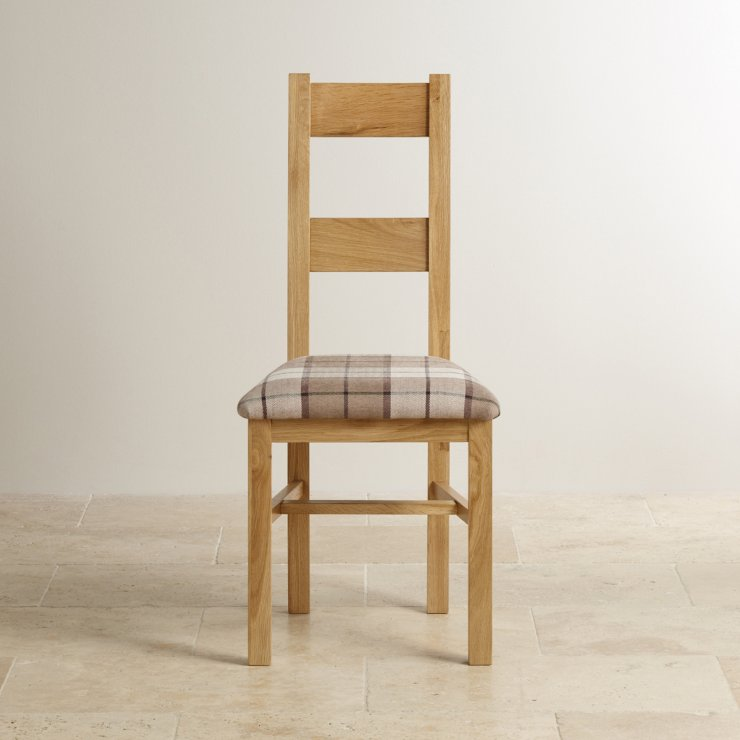 Farmhouse Natural Solid Oak and Check Brown Fabric Chair
