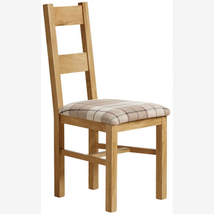 Farmhouse Natural Solid Oak and Check Brown Fabric Chair - Image 4