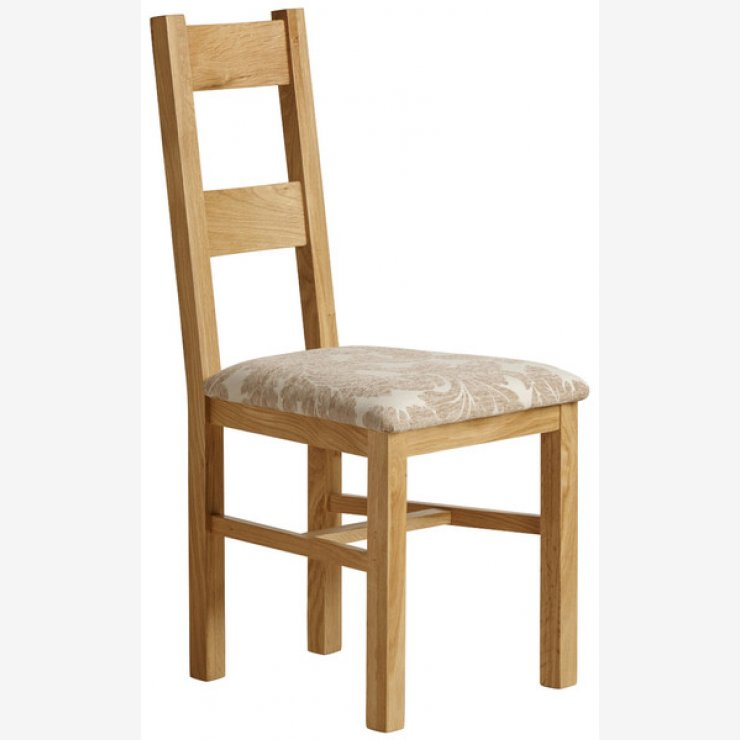 Farmhouse Natural Solid Oak and Patterned Beige Fabric Dining Chair - Image 3