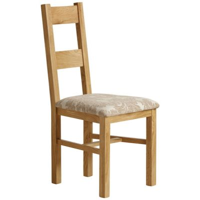 Farmhouse Natural Solid Oak and Patterned Beige Fabric Dining Chair