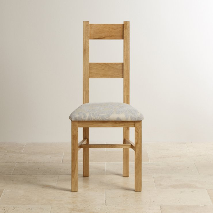 Farmhouse Natural Solid Oak and Patterned Grey Fabric Dining Chair