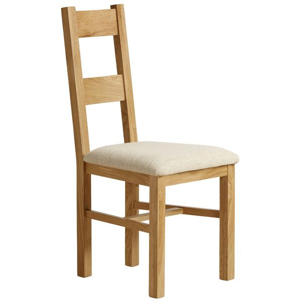Farmhouse Natural Solid Oak and Plain Beige Fabric Dining Chair