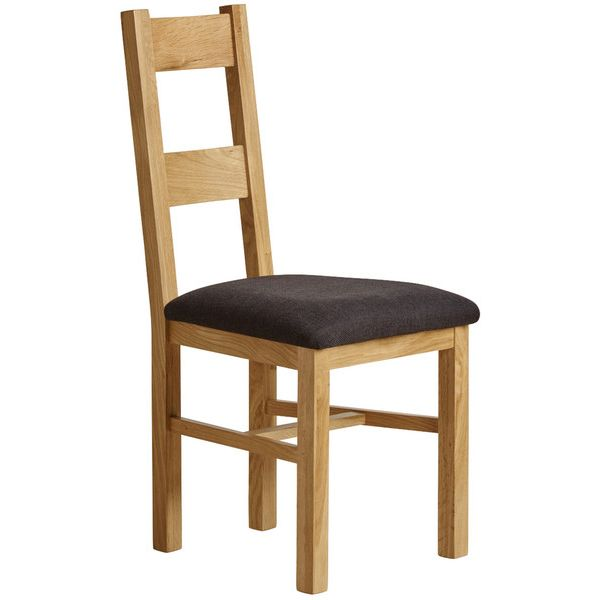 Farmhouse Natural Solid Oak and Plain Black Fabric Dining Chair