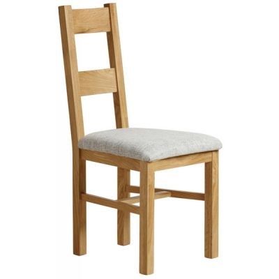 Farmhouse Natural Solid Oak and Plain Grey Fabric Dining Chair