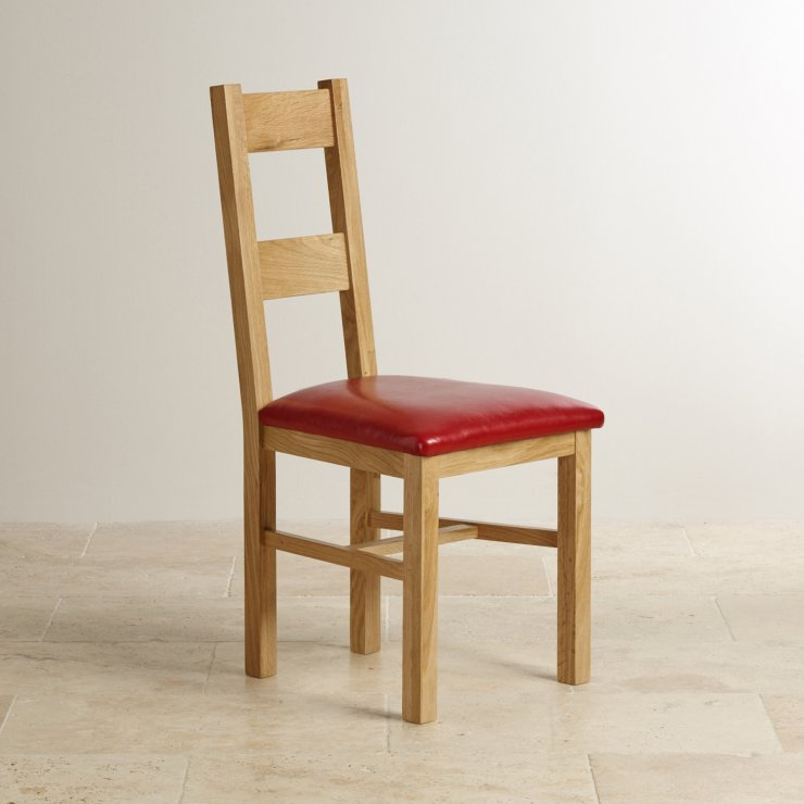 Farmhouse Natural Solid Oak and Red Leather Dining Chair