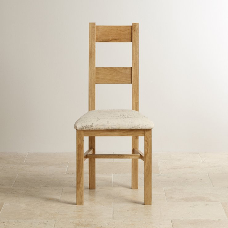 Farmhouse Natural Solid Oak and Scripted Beige Fabric Chair