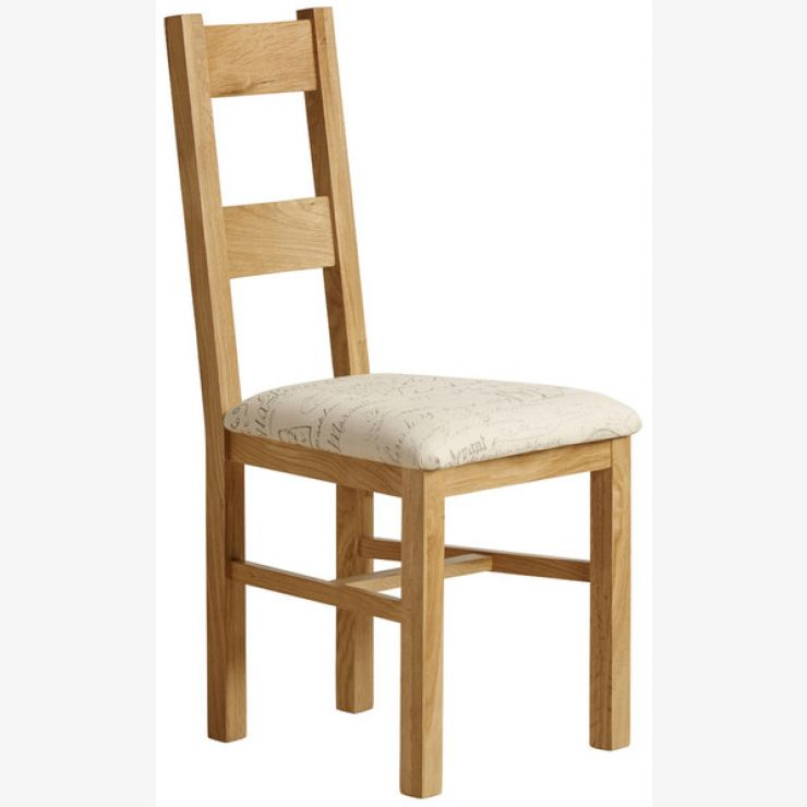 Farmhouse Natural Solid Oak and Scripted Beige Fabric Chair - Image 4