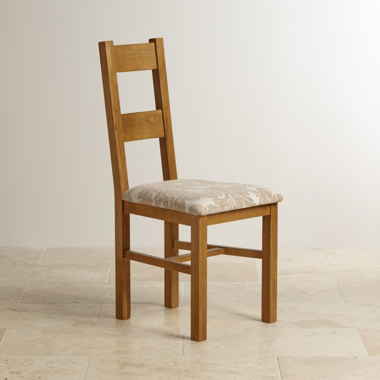 Farmhouse Rustic Solid Oak and Beige Patterned Fabric Dining Chair