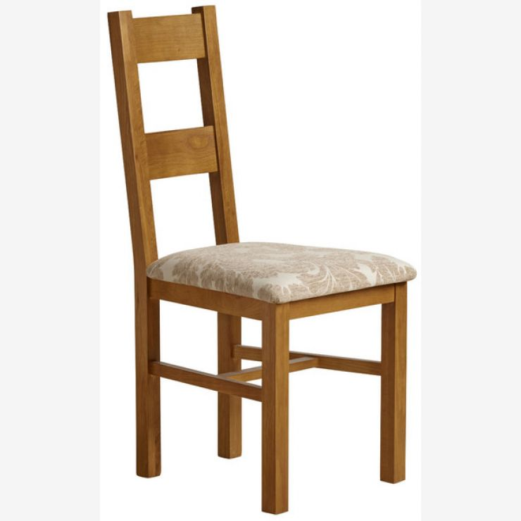 Farmhouse Rustic Solid Oak and Beige Patterned Fabric Dining Chair - Image 3