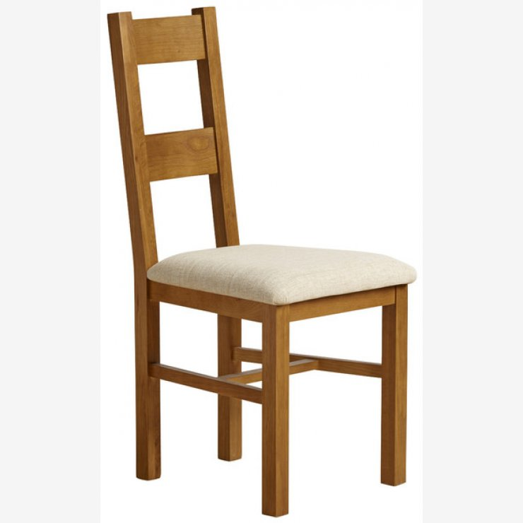 Farmhouse Rustic Solid Oak and Beige Plain Fabric Dining Chair - Image 3