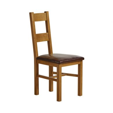 Farmhouse Rustic Solid Oak and Brown Leather Dining Chair