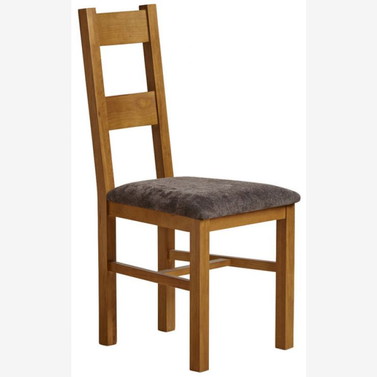 Farmhouse Rustic Solid Oak and Charcoal Plain Fabric Dining Chair