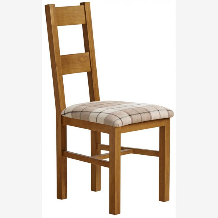 Farmhouse Rustic Solid Oak and Check Brown Fabric Chair - Image 4